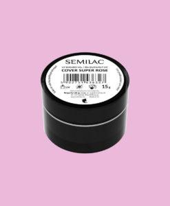 Semilac Builder Cover Super Rose 15g. är en vitblek rosa gel med en tät konsistens och självutjämnande egenskaper.